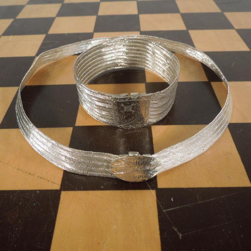Vintage smykkesæt i vævet sølvtråd - armbånd & halskrave.