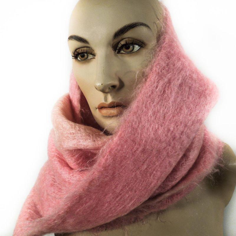Vintage uld tørklæde i de fineste candyfloss farver
