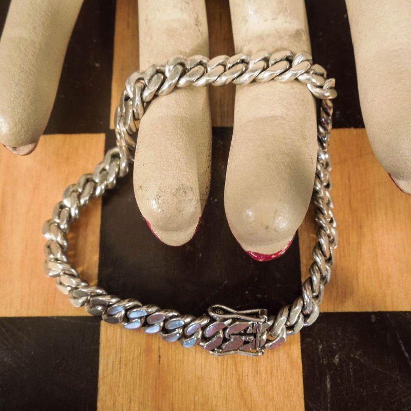 Vintage, meget kraftig anker-armlænke i sterling sølv!