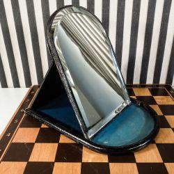 Smukkeste, store antikke fransk rejse-spejl med facetslebet glas.