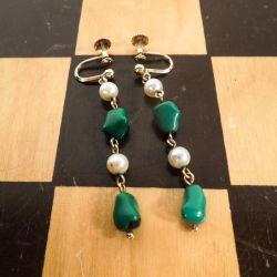Meget smukke guld øreskruer med ægte perler & turkis-sten.