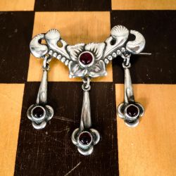 antikke Gerson Davidsen broche i sølv & granater
