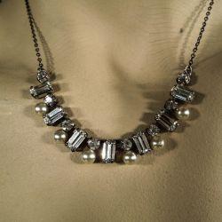 vintage halskæde med rhinsten & perler