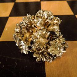 Flora Danica vintage persille broche i forgyldt sølv
