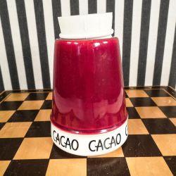"""Bordeaux Kronjyden-krukke til """"Cacao"""" i super fin stand. Højde 15 cm."""
