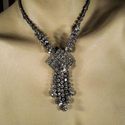 Vintage rhinstens-halskæde i klare sten - tung & lækker kvalitet.