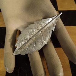 Kæmpe stor flot vintage blad broche i sterling sølv.
