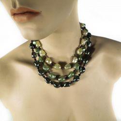 Vintage treradet bijouteri halskæde i grønne toner - fantastisk smuk!