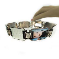 Vintage sølv & emalje armbånd med håndmalede silhouet motiver