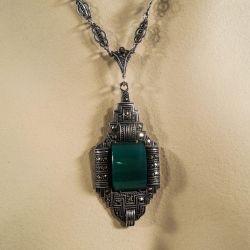 Smukkeste vintage halskæde i sølv med magasit-sten.