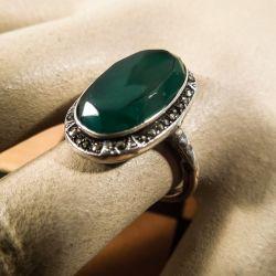 Smuk vintage sølv ring med magasit sten.
