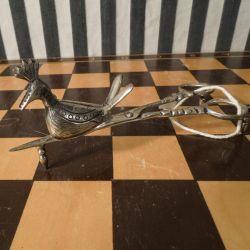 Antik stearinlys-klipper & slukker i sølv med påfugl.