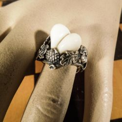 Meget smuk antik vintage fingerring i sølv