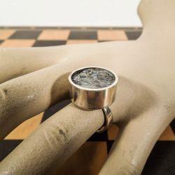 Vintage kæmpe-ring i sterling sølv med abelone-skal/perlemor.