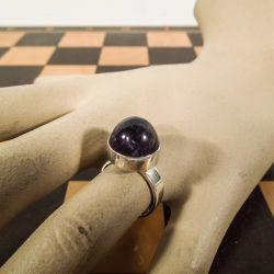 Svensk vintage sølv klemme-ring med stor sleben ametyst