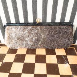 Vintage clutch fra Bon Gout i sælskind