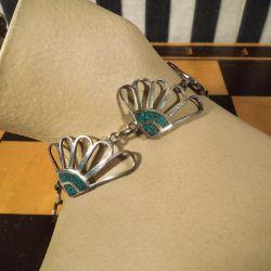 Vintage armlænke i sølv & turkiser.