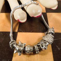Vintage Pandora sølv armbånd med med karabin lås