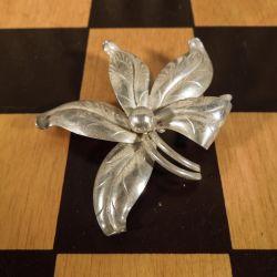 Herman Siersbøl blomster broche i sterling sølv
