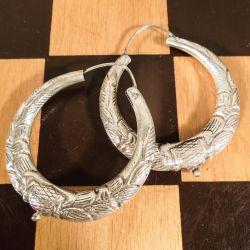 Et par fantastiske store vintage sølv øreringe i creoler-stil.