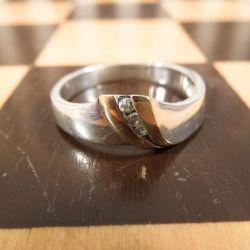 Vintage sølv Aagaard ring med detalje af guld og zirkon sten