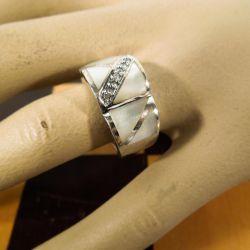Vintage Aagaard ring i sterling sølv, med perlemor & klare zirkonia