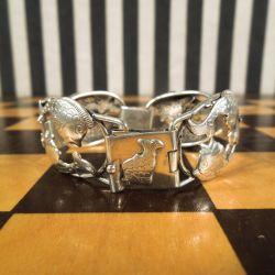 Vintage sølv armlænke med fiskemotiv fra E & K