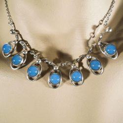Smukkeste Siersbøl halskæde med blå sten