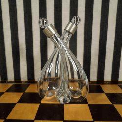 Glaskaraffel fra Cohr med sølvmontering til olie/eddike