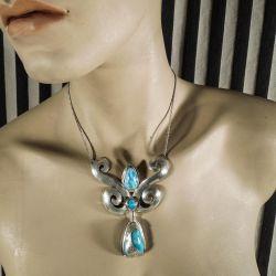 Helt unik og håndlavet vintage halskæde i sølv sterling fra Siersbøl