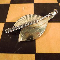 Vintage A. Michelsen freds-lilje broche i forgyldt sterling sølv