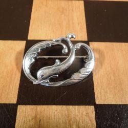 Vintage sølv broche fra Eiler & Marløe med delfin motiv