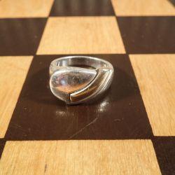 Vintage Scrouples sølv ring med detalje af guld.