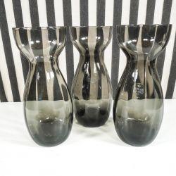 Tre stk. røgfarvede Holmegård hyacintglas i perfekt stand.