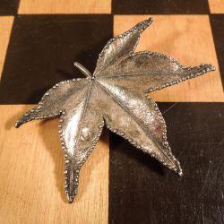 Vintage kæmpe blad-broche i forgyldt sterling sølv