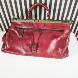 """Vintage """"jordmoder"""" taske i rødt læder"""