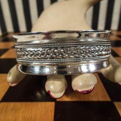 Vintage klemme armbånd i sølv med det fineste flet-mønster!