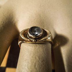 Vintage smuk guld ring med sten af bjergkrystal fra Siersbøl.