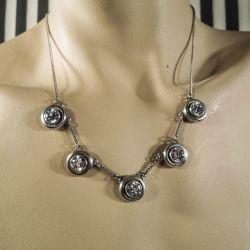 Vintage halskæde i sterling sølv med store klare sten!