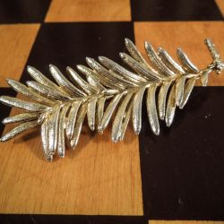 Flora Danica vintage broche i forgyldt sølv!