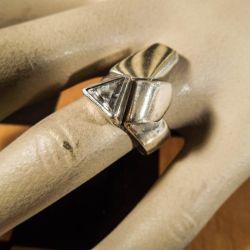 Vintage unika ring i sølv belagt med guld.