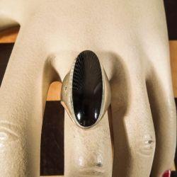 Vintage finger ring i sølv med onyx!