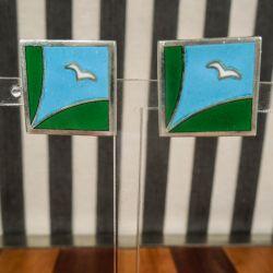 Vintage sæt af kvadratiske øreclips i sterling sølv samt emalje fra Cohr i Bo Bendixen-stil