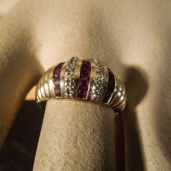 Vintage ring i guld besat med diamanter/rubiner