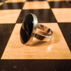 Vintage ring i sterling sølv med onyx fra N.E. From.