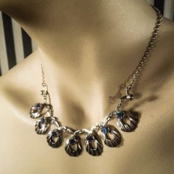 Vintage halskæde i sterling sølv & farvede glas-sten!