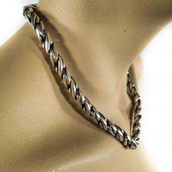 Meget kraftig herre sølv halskæde i klassisk mønster