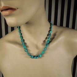 Vintage halskæde med store, brogede turkis sten fra Poul Erik Fenster!