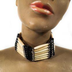 Vintage halskrave/kæde i ben & læder