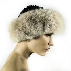 Vintage persianerhue med kantet med lækker blåræve-pels!!